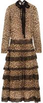 RED Valentino Lace-trimmed Leopard-print Silk-crepon Midi Dress - Leopard print