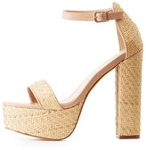 Charlotte Russe Straw Two-Piece Platform Sandals