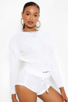 boohoo Waffle Knit Shorts Co-ord