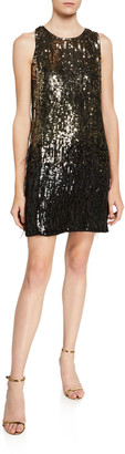 Parker Black Allegra Ombre Beaded Sleeveless Mini Shift Dress w/ Feather Trim