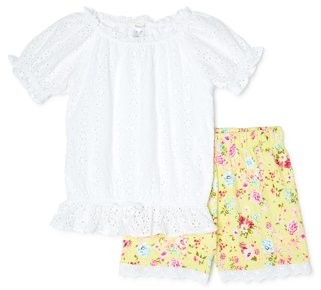 Forever Me Girls 4-12 Ruffle Sleeve Peasant Top and Lace Trim Short, 2-Piece Outfit Set With Headband