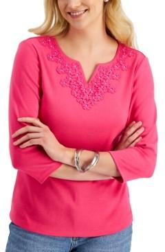 Karen Scott Crochet-Yoke 3/4-Sleeve Top, Created for Macy's