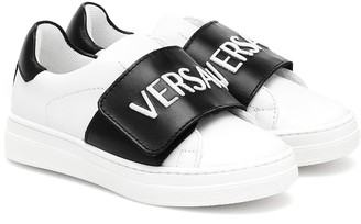 Versace Kids Logo leather sneakers