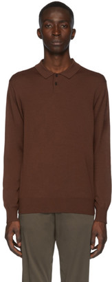 Ermenegildo Zegna Brown Wool Long Sleeve Polo