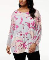 Alfani Plus Size Printed Blouson-Sleeve Tunic, Created for Macy's