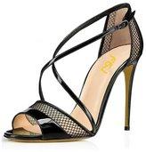 FSJ Womens Open Toe Sandals Strappy Buckle Stilettos High Heels Shoes Size 12 US
