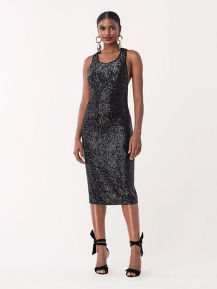 Diane von Furstenberg Mercury Sequined Jersey Fitted Dress