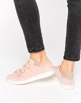 adidas Pink Nubuck Leather Stan Smith Sneakers With Strap