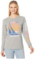 Life is Good Seas the Day Long Sleeve Crusher Tee (Heather Gray) Women's Clothing