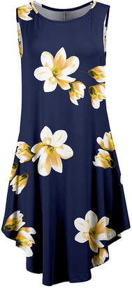Lily Women's Casual Dresses NVY - Navy & Yellow Floral Curved-Hem Sleeveless Dress - Women & Plus