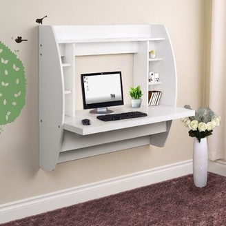 Ebern Designs Severina Floating Desk with Hutch Color: White