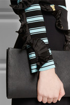 Ungaro Ruffle-trimmed striped ribbed-knit sweater