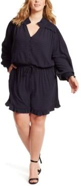 Jessica Simpson Trendy Plus Size Pauly Printed Ruffled Romper