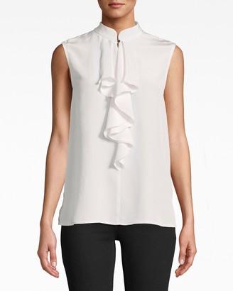 Nicole Miller Solid Silk Sleeveless Ruffle Blouse