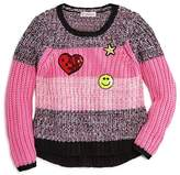 Design History Girls' Striped Sweater with Emoji Patches - Little Kid