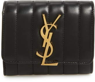 Saint Laurent Vicky Lambskin Leather Trifold Wallet