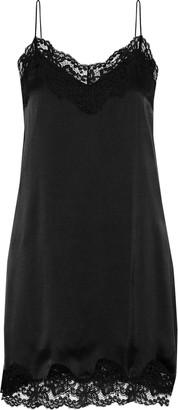 Alice + Olivia Brighton Lace-trimmed Stretch-silk Satin Mini Slip Dress