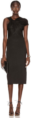 Victoria Beckham Twist Drape Fitted Dress in Black | FWRD