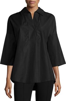 Akris Punto Elements Kimono-Sleeve Blouse, Black