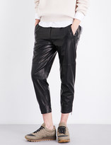 Brunello Cucinelli Cropped leather trousers