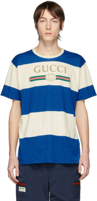 Gucci Off-White and Blue Vintage Logo T-Shirt