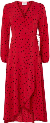 Wallis PETITE Coral Polka Dot Print Wrap Midi Dress