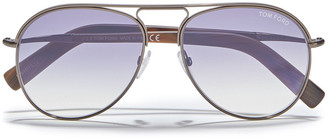 Tom Ford Aviator-style Gunmetal-tone Sunglasses