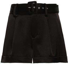 Alice + Olivia Belted Satin-crepe Shorts