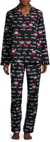 Asstd National Brand Flannel Notch Collar Pant Pajama Set
