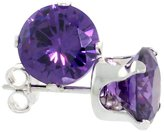 Sabrina Silver Sterling Silver Cubic Zirconia Amethyst Earrings Studs 7 mm Color 2 1/2 carat/pair