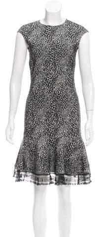 Behnaz Sarafpour Patterned Wool-Blend Dress
