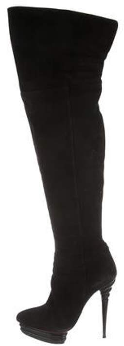 026c2800df5 Suede Over-The-Knee Boots Black Suede Over-The-Knee Boots