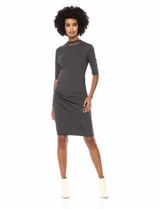 Michael Stars Women's Cotton Lycra Elbow Sleeve Slashed Mock Neck Dress