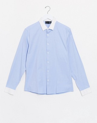 Asos DESIGN slim fit twill shirt with contrast collar & cuff detail in blue
