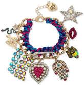 Betsey Johnson Gold-Tone Woven Multi-Charm Bracelet