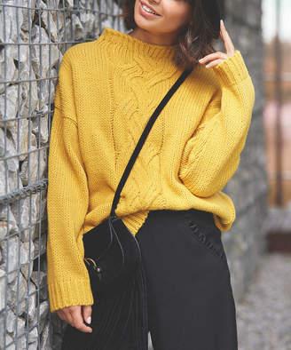 Bewear BeWear Women's Open Cardigans yellow - Yellow Crochet-Accent Sweater - Women