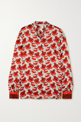 Raquel Diniz Savannah Floral-print Silk-satin Blouse - Red