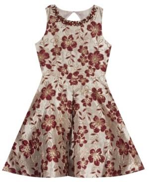 Rare Editions Big Girl Brocade Pleated Dress