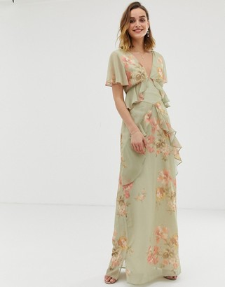 Hope & Ivy ruffle floaty maxi dress with open back in sage green floral-Multi