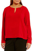 Calvin Klein Plus Scoop Neck Long Sleeve Keyhole Blouse