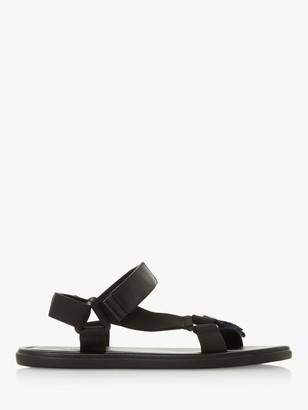 Dune Flairss Fabric Sandals, Black Canvas