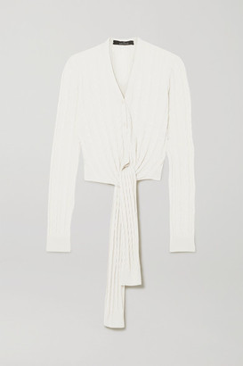 Rokh Tie-front Cable-knit Cotton Cardigan - White