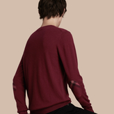 Burberry Check Trim Cashmere Cotton Sweater , Size: L, Red