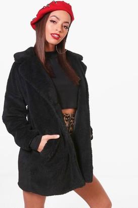 boohoo Faux Fur Teddy Coat