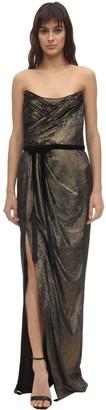 Marchesa Foiled Velvet Draped Gown