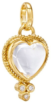 Temple St. Clair 18K Yellow Gold, Rock Crystal & Diamond Small Braided Heart Pendant