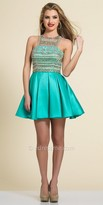 Dave and Johnny Beaded Grecian Fit and Flare Homecoming Dress