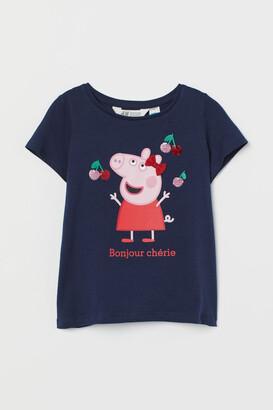 H&M Graphic-detail T-shirt - Blue