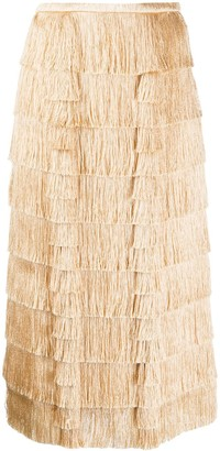 Marco De Vincenzo Layered Fringe Skirt