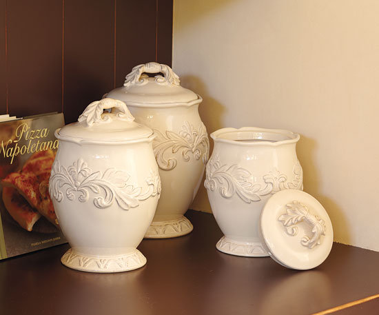 Napa Style Firenze Ivory Canisters, Bowl & Platter